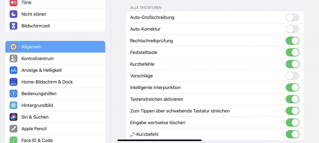Einstellungen unter iPadOS für den Bereich Tastaturen