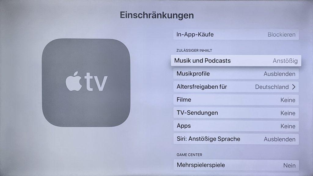 """In-App-Käufe"""" und Wiedergabe bzw. Nutzung von Filmen, TV-Sendungen und Apps deaktivieren."""