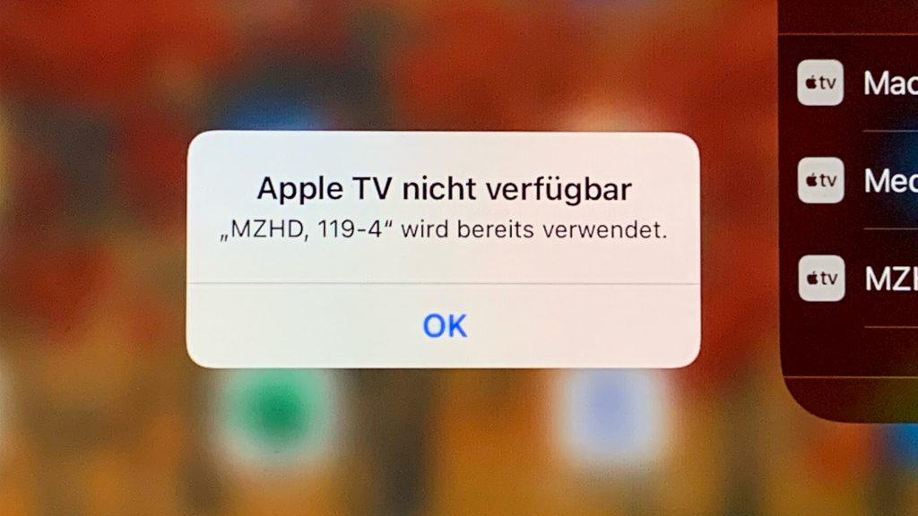 Die Meldung auf einem iPad, dass die Verbindung zu ATV wegen einer Verwendung durch einen anderen Nutzer nicht möglich ist.