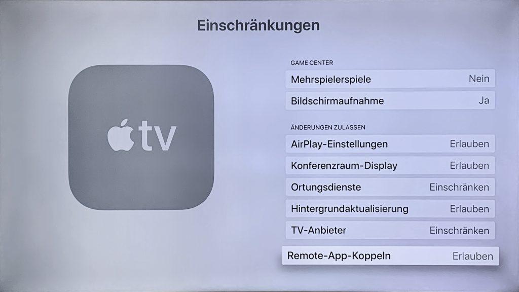 Einstellungen für Air-Play, Konferenzraum-Display und Hintergrundaktualisierung